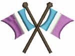 Flaggen türkis-weiss-lila