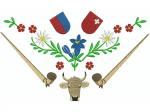 Hirthemd Alphorn Blumen Kuh 2 Wappen