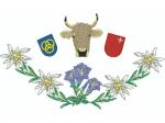 Hirthemd Blumenkranz mit Kuh und Wappen