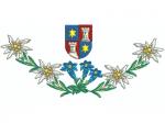 Hirthemd Wappen, 3 Enziane und 2 Edelweisse