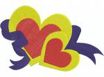 2 Herzen mit Schleife