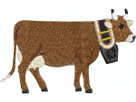 Kuh mit Glocke schwanzend