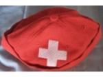Rundcap rot mit Schweizer Kreuz