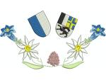 Hirthemd Enzian, Edelweiss, Männertreu mit 2 Wappen