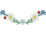 Hirthemd Enzian, Edelweiss, rote Blumen und Wappen