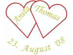 2 Herzen mit Namen und Datum