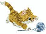 Katze mit Knäuel