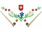 Hirthemd Alphorn Blumen Kuh Wappen