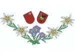 Hirthemd Edelweisskette mit Enzian und 2 Wappen